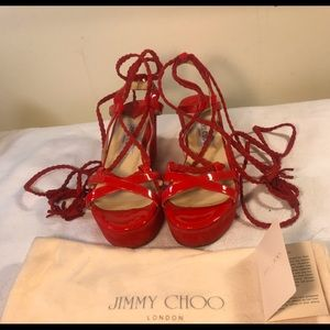 "Jimmy Choo ""Poppy"" Patent Leather / Suede Sandels"